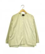 オローネ(オローネ)の古着「ノーカラーブラウス」|ライトグレー
