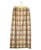 IENA(イエナ)の古着「ゴブランチェックフリンジスカート」|ブラウン