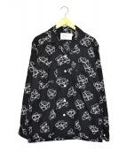 MOUNTAIN RESEARCH(マウンテンリサーチ)の古着「オープンカラーシャツ」|ブラック×ホワイト