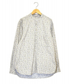 45rpm(フォーティーファイブアールピーエム)の古着「フラワープリントプルオーバーバンドカラーシャツ」|ホワイト