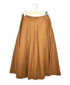 MARGARET HOWELL(マーガレットハウエル)の古着「リネンボリュームロングスカート」|ブラウン