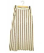 Samuji(サムイ)の古着「ストライプタイトスカート」 ベージュ×ブラウン