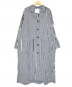 GRANDMA MAMA DAUGHTER(グランマママドーター)の古着「コットンリネンギンガムオープンカラーコート」|ホワイト×ネイビー