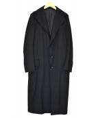 Y's(ワイズ)の古着「断ち切りラペルウールギャバジンコート」 ブラック