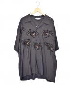 Star OF HOLLYWOOD(スターオブハリウッド)の古着「タランチュラ開襟シャツ」|ブラック