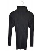 PLEATS PLEASE(プリーツプリーズ)の古着「ハイネックプリーツカットソー」 ブラック