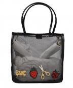 SueUNDERCOVER(スーアンダーカバー)の古着「エンブロイダリーメッシュハンドバッグ」|ブラック