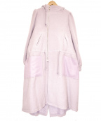 SueUNDERCOVER(スーアンダーカバー)の古着「リボンウールモヘアフーデッドコート」|ピンク