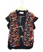 mame kurogouchi(マメ クロゴウチ)の古着「ペディセルレースフレンチスリーブブラウス」|ブラック×レッド