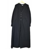 peu pres(プープレ)の古着「バンドカラーシャツワンピース」|ブラック