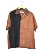 TOGA VIRILIS(トーガ ヴィリリース)の古着「開襟半袖シャツ」 ブラウン×ネイビー