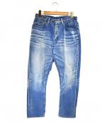 sanca(サンカ)の古着「インディゴコードテーパードパンツ」 ブルー
