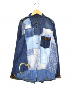Desigual(デシグアル)の古着「デニムパッチワークシャツ」|ブルー