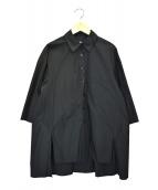 styling/ kei shirahata(スタイリング / ケイ シラハタ)の古着「サイドスリッドワイドシャツ」|ブラック