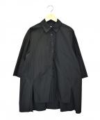 styling/ kei shirahata(スタイリング / ケイ シラハタ)の古着「サイドスリッドワイドシャツ」 ブラック