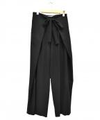 styling/ kei shirahata(スタイリング / ケイ シラハタ)の古着「ワイドタックラップパンツ」 ブラック