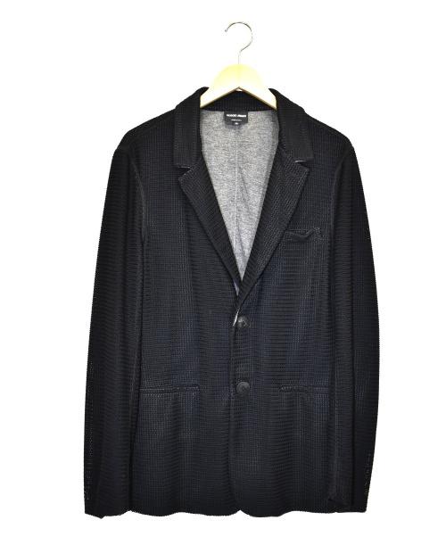 GIORGIO ARMANI(ジョルジオアルマーニ)GIORGIO ARMANI (ジョルジオアルマーニ) メッシュ編みジャケット ブラック サイズ:50 GSG50JGSBTJの古着・服飾アイテム