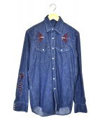 lucien pellat-finet(ルシアンペラフィネ)の古着「刺繍デニムシャツ」 ブルー
