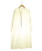 Mila Owen(ミラオーウェン)の古着「サッシュベルト付けAラインノーカラーコート」|アイボリー