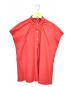 susuri(ススリ)の古着「S/Sギャザーデザインシャツ」|レッド