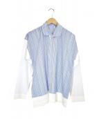 HOMME PLISSE ISSEY MIYAKE(オム プリッセ イッセイ ミヤケ)の古着「ストライプシャツ」|ブルー×ホワイト