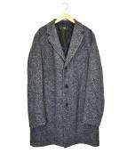 HUGO BOSS(ヒューゴボス)の古着「ヘリンボーンチェスターコート」|グレー