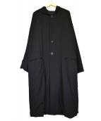 ()の古着「シワギャバお尻抜染フーデッドロングコート」|ブラック