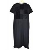robe de chambre COMME des GARCONS(ローブドシャンブル コムデギャルソン)の古着「ローズデザインパッチワークワンピース」 ブラック