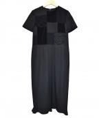 ROBE DE CHAMBRE COMME DES GARCONS(ローブドシャンブル コムデギャルソン)の古着「ローズデザインパッチワークワンピース」|ブラック