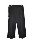 yohji yamamoto+Noir(ヨウジヤマモトプリュスノアール)の古着「デザインワイドウールパンツ」|ブラック
