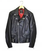 666(トリプルシックス)の古着「レザーライダースジャケット」|ブラック