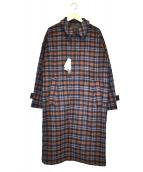 HARE(ハレ)の古着「メルトンチェックステンカラーコート」|ブラウン
