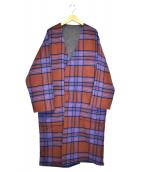 HARE(ハレ)の古着「メルトンチェックガウンコート」|ブラウン