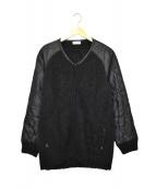 EN ROUTE(アンルート)の古着「ニット切替ナイロンジャケット」|ブラック