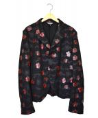 BLACK COMME des GARCONS(ブラックコムデギャルソン)の古着「ローズプリントウールジャケット」|ブラック