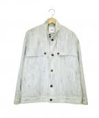 CLANE HOMME(クラネ オム)の古着「総柄スタンドカラージャケット」|ブルー