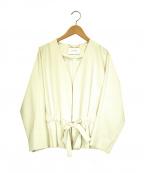 BEIGE(ベイジ)の古着「ウエストリボンノーカラージャケット」 ホワイト