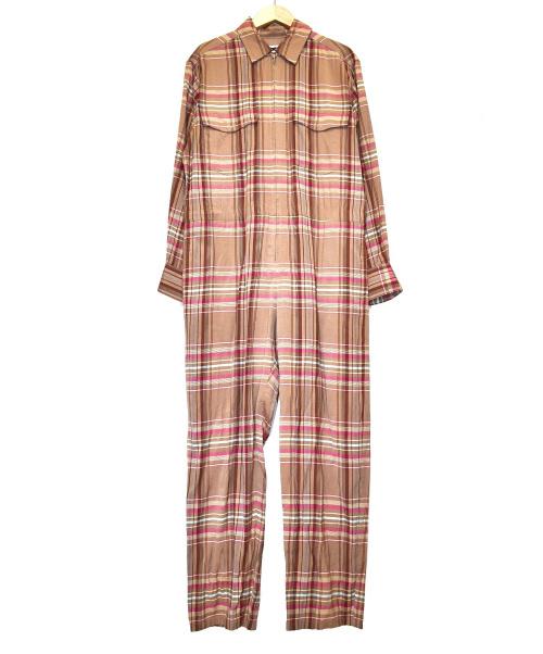 H BEAUTY&YOUTH(エイチ ビューティアンドユース)H BEAUTY&YOUTH (エイチ ビューティアンドユース) マドラスチェックオールインワン ベージュ サイズ:S MADRAS CHECK ALL IN ONEの古着・服飾アイテム