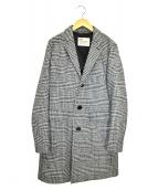 Traditional Weatherwear(トラディショナルウェザーウェア)の古着「チェックチェスターコート」 ホワイト×ブラック