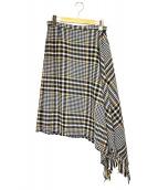 beautiful people(ビューティフルピープル)の古着「フリンジアシンメトリースカート」|ベージュ