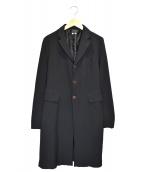 COMME des GARCONS COMME des GARCONS(コムデギャルソンコムデギャルソン)の古着「バッグデザインステンカラーコート」|ブラック