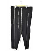 YohjiYamamoto pour homme(ヨウジヤマモトプールオム)の古着「デザインジップチェーンパンツ」 ブラック