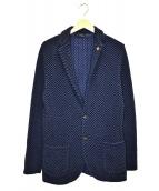 LARDINI(ラルディーニ)の古着「ニットジャケット」|ブラック×ブルー