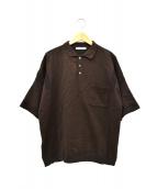 yashiki(ヤシキ)の古着「ニットポロシャツ」|ブラウン