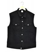 IRON HEART(アイアンハート)の古着「21ozエクストラベビー黒鎧トラッカーベスト」|ブラック