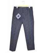 45R(フォーティファイブアール)の古着「製品染ストライプインディゴテーパードパンツ」|インディゴ