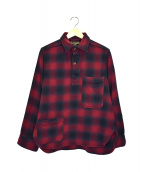 NIGEL CABOURN(ナイジェルケーボン)の古着「オンブレーチェックシャツプルオーバー」|レッド