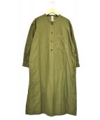 MHL(エムエイチエル)の古着「ノーカラーシャツワンピース」|カーキ