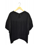 PLEATS PLEASE(プリーツプリーズ)の古着「ワイドプリーツブラウス」|ブラック