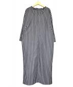 GALLARDA GALANTE(ガリャルダガランテ)の古着「ストライプシャツワンピース」|ブラウン×ブラック